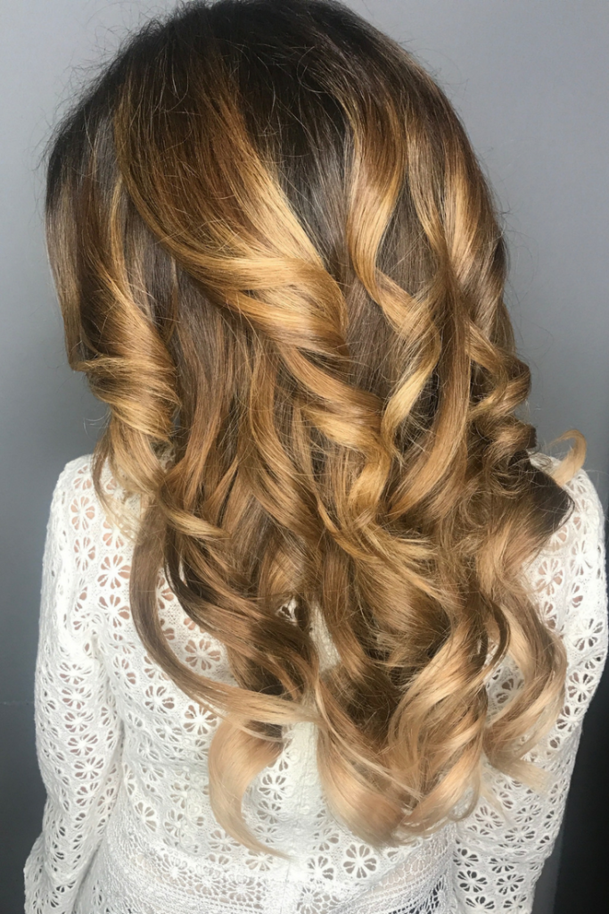 Tape extensions ombre look